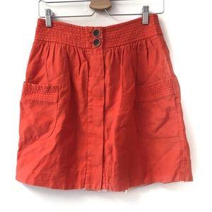 J. Crew orange mini skirt size 4